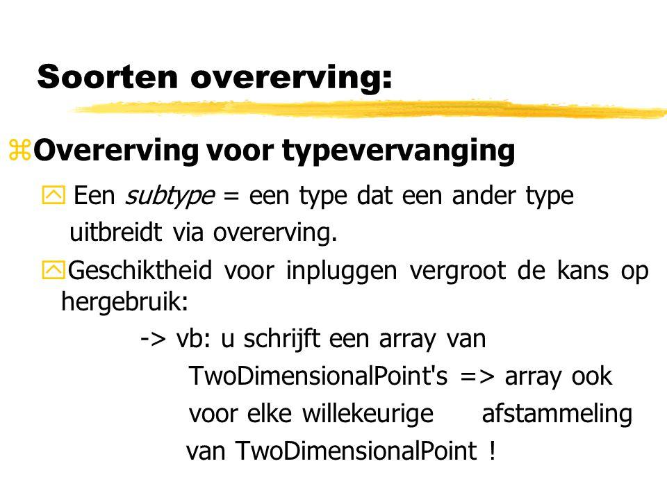Soorten overerving: zOvererving voor typevervanging yEen subtype = een type dat een ander type uitbreidt via overerving. yGeschiktheid voor inpluggen