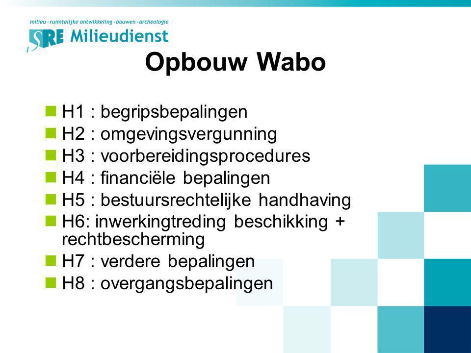 Opbouw Wabo H1 : begripsbepalingen H2 : omgevingsvergunning H3 : voorbereidingsprocedures H4 : financiële bepalingen H5 : bestuursrechtelijke handhavi