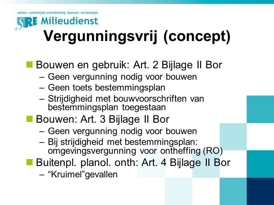 Vergunningsvrij (concept) Bouwen en gebruik: Art. 2 Bijlage II Bor –Geen vergunning nodig voor bouwen –Geen toets bestemmingsplan –Strijdigheid met bo