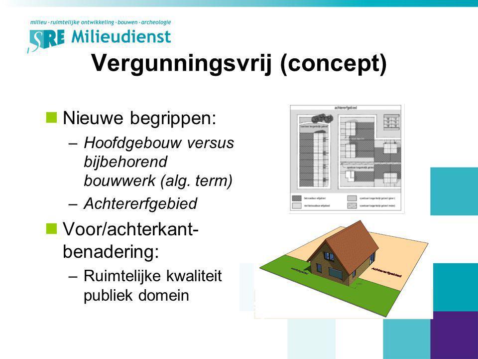 Vergunningsvrij (concept) Nieuwe begrippen: –Hoofdgebouw versus bijbehorend bouwwerk (alg. term) –Achtererfgebied Voor/achterkant- benadering: –Ruimte