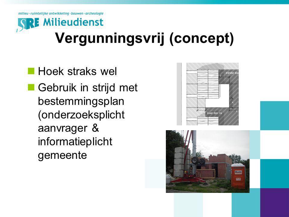 Vergunningsvrij (concept) Hoek straks wel Gebruik in strijd met bestemmingsplan (onderzoeksplicht aanvrager & informatieplicht gemeente