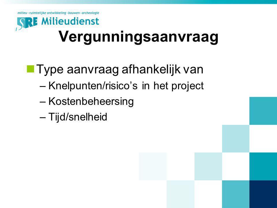 Vergunningsaanvraag Type aanvraag afhankelijk van –Knelpunten/risico's in het project –Kostenbeheersing –Tijd/snelheid