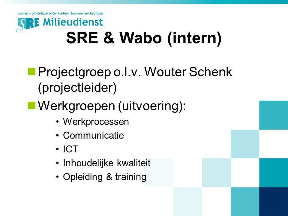 SRE & Wabo (intern) Projectgroep o.l.v. Wouter Schenk (projectleider) Werkgroepen (uitvoering): Werkprocessen Communicatie ICT Inhoudelijke kwaliteit