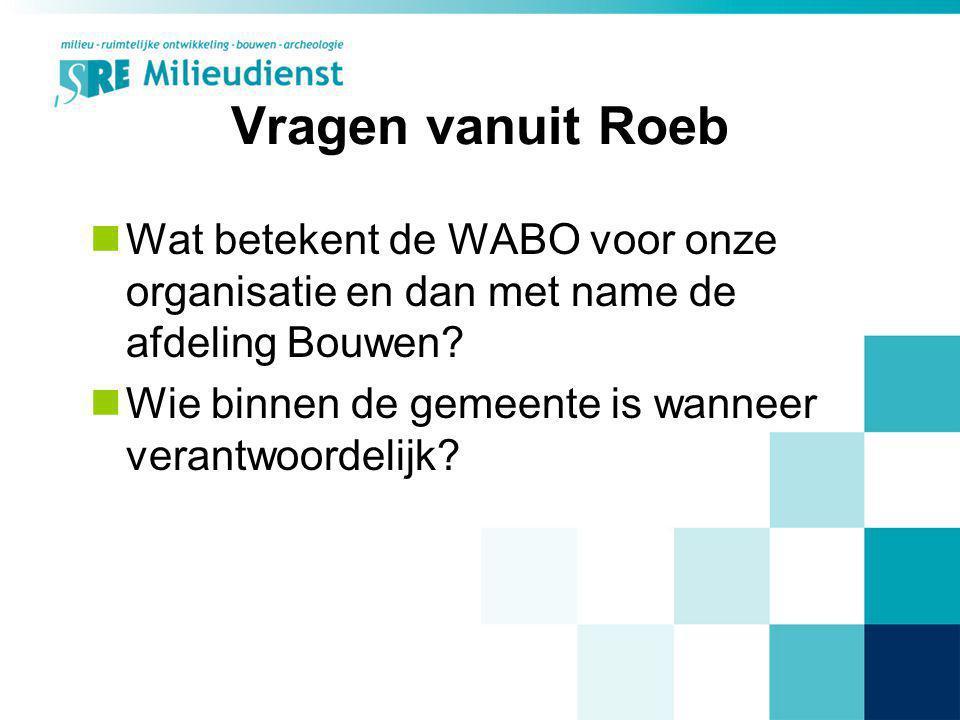 Vragen vanuit Roeb Wat betekent de WABO voor onze organisatie en dan met name de afdeling Bouwen? Wie binnen de gemeente is wanneer verantwoordelijk?