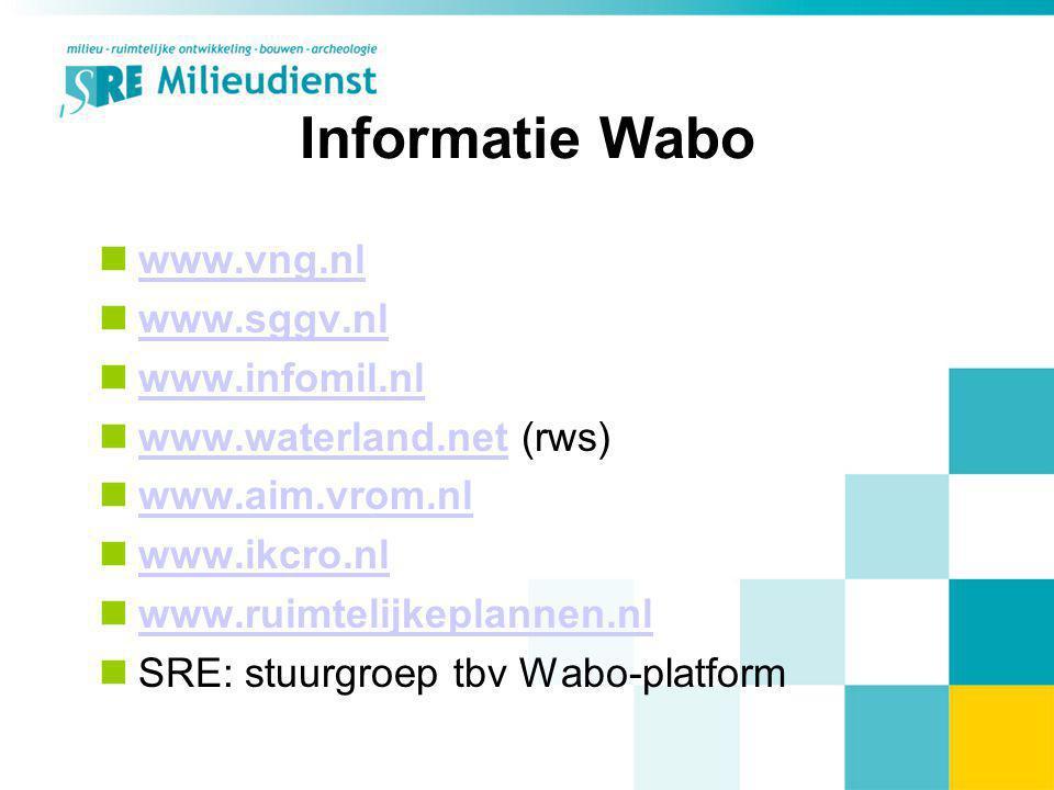 Informatie Wabo www.vng.nl www.sggv.nl www.infomil.nl www.waterland.net (rws) www.waterland.net www.aim.vrom.nl www.ikcro.nl www.ruimtelijkeplannen.nl