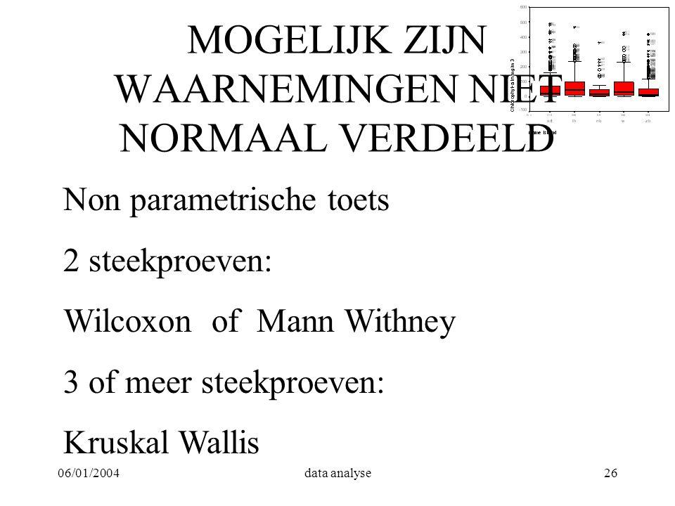 06/01/2004data analyse26 MOGELIJK ZIJN WAARNEMINGEN NIET NORMAAL VERDEELD Non parametrische toets 2 steekproeven: Wilcoxon of Mann Withney 3 of meer s