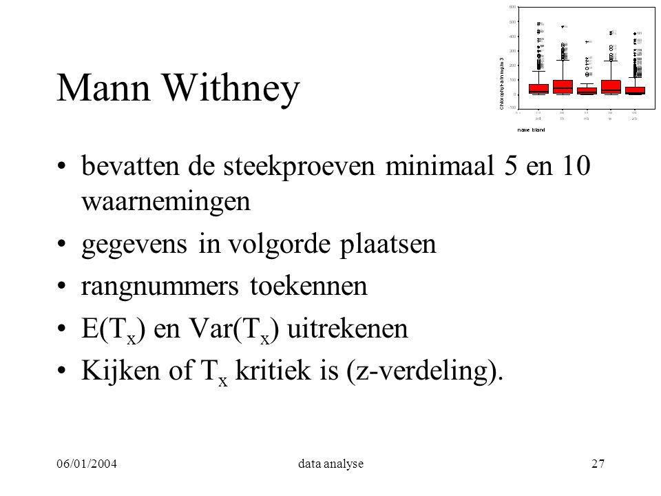 06/01/2004data analyse27 Mann Withney bevatten de steekproeven minimaal 5 en 10 waarnemingen gegevens in volgorde plaatsen rangnummers toekennen E(T x