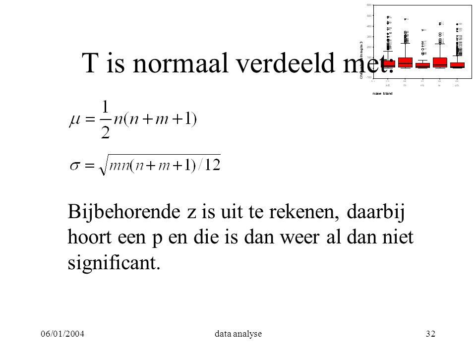 06/01/2004data analyse32 T is normaal verdeeld met: Bijbehorende z is uit te rekenen, daarbij hoort een p en die is dan weer al dan niet significant.