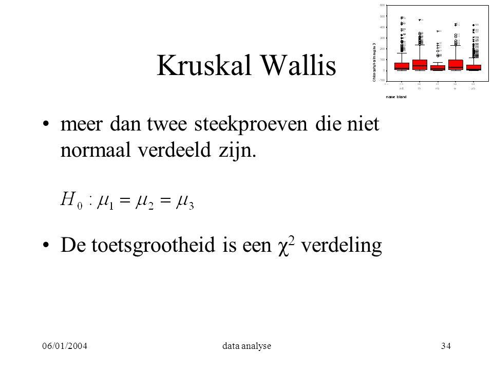 06/01/2004data analyse34 Kruskal Wallis meer dan twee steekproeven die niet normaal verdeeld zijn. De toetsgrootheid is een χ 2 verdeling