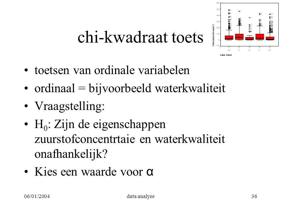06/01/2004data analyse36 chi-kwadraat toets toetsen van ordinale variabelen ordinaal = bijvoorbeeld waterkwaliteit Vraagstelling: H 0 : Zijn de eigens
