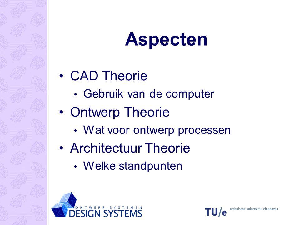 Aspecten CAD Theorie Gebruik van de computer Ontwerp Theorie Wat voor ontwerp processen Architectuur Theorie Welke standpunten