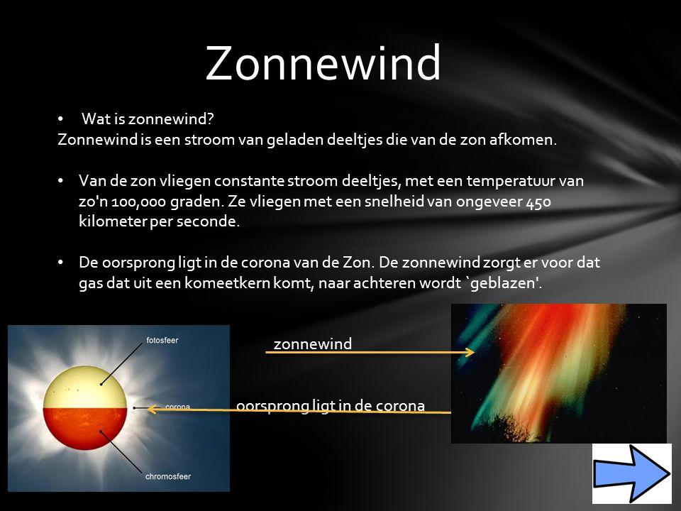 Zonnewind Wat is zonnewind.Zonnewind is een stroom van geladen deeltjes die van de zon afkomen.