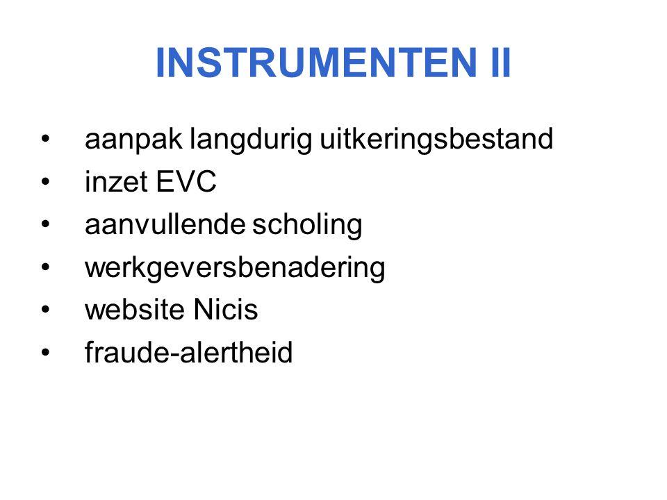 INSTRUMENTEN II aanpak langdurig uitkeringsbestand inzet EVC aanvullende scholing werkgeversbenadering website Nicis fraude-alertheid