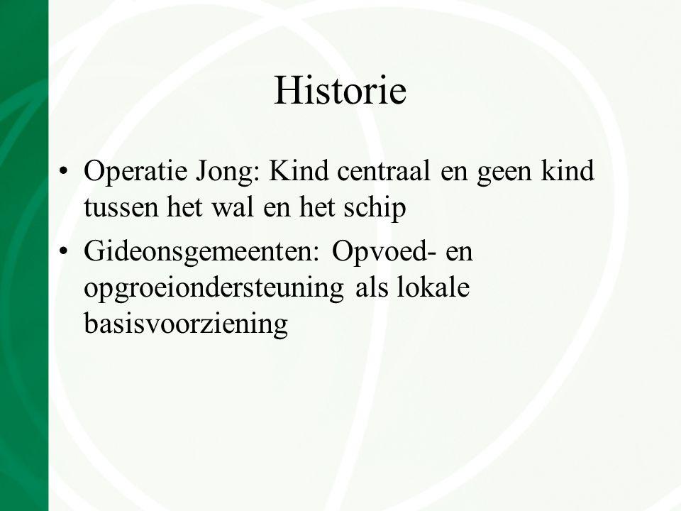 Historie Operatie Jong: Kind centraal en geen kind tussen het wal en het schip Gideonsgemeenten: Opvoed- en opgroeiondersteuning als lokale basisvoorziening