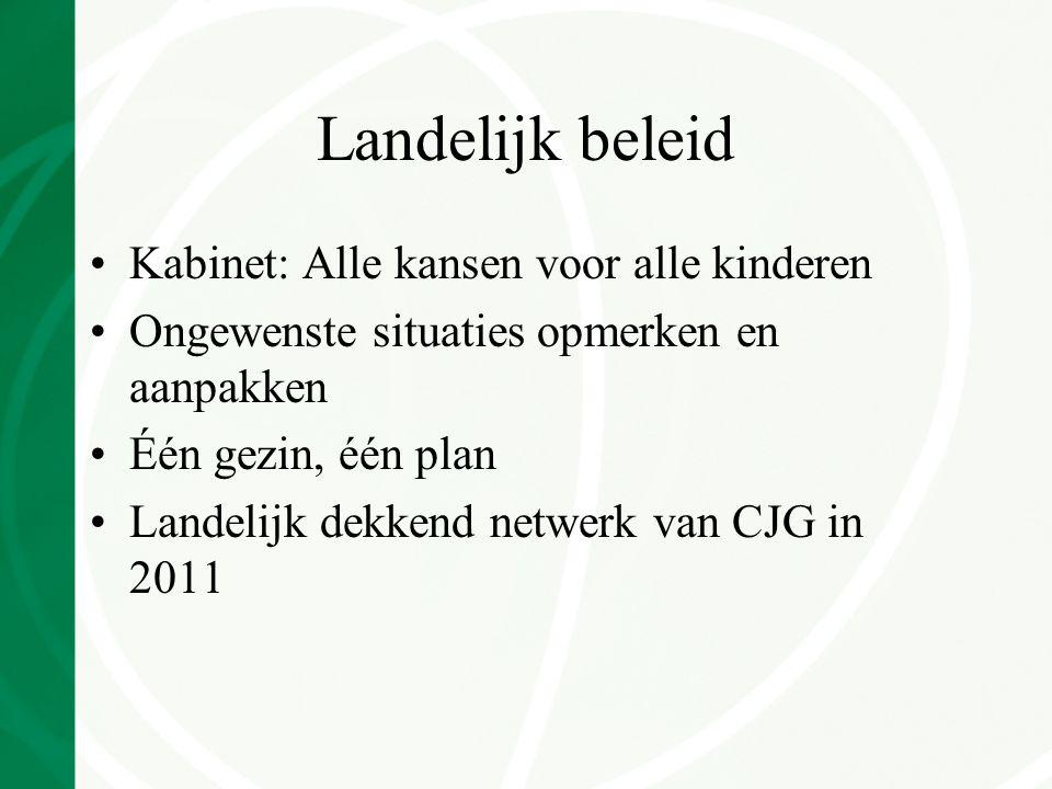 Landelijk beleid Kabinet: Alle kansen voor alle kinderen Ongewenste situaties opmerken en aanpakken Één gezin, één plan Landelijk dekkend netwerk van CJG in 2011