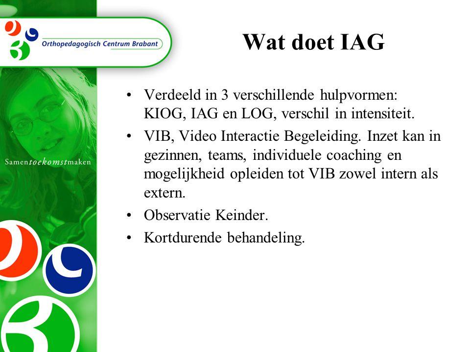 Wat doet IAG Verdeeld in 3 verschillende hulpvormen: KIOG, IAG en LOG, verschil in intensiteit. VIB, Video Interactie Begeleiding. Inzet kan in gezinn