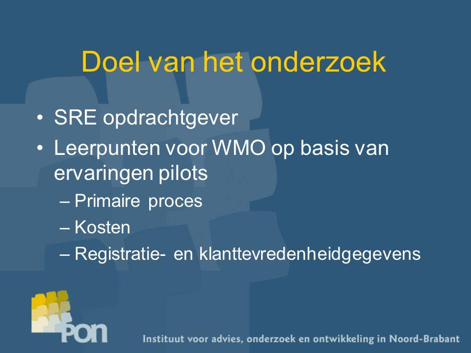 Doel van het onderzoek SRE opdrachtgever Leerpunten voor WMO op basis van ervaringen pilots –Primaire proces –Kosten –Registratie- en klanttevredenheidgegevens