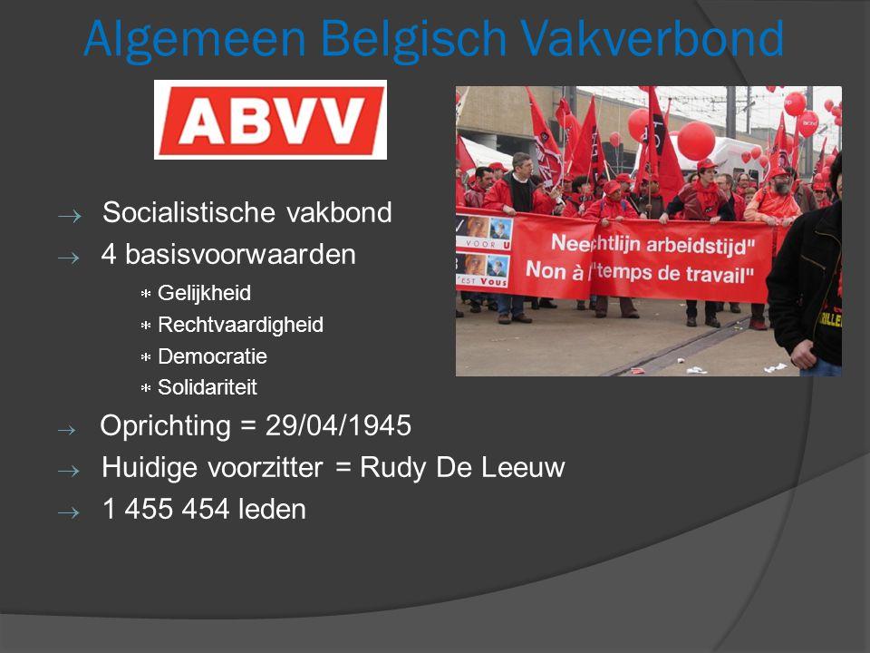 Algemeen Belgisch Vakverbond  Socialistische vakbond  4 basisvoorwaarden  Gelijkheid  Rechtvaardigheid  Democratie  Solidariteit  Oprichting = 29/04/1945  Huidige voorzitter = Rudy De Leeuw  1 455 454 leden