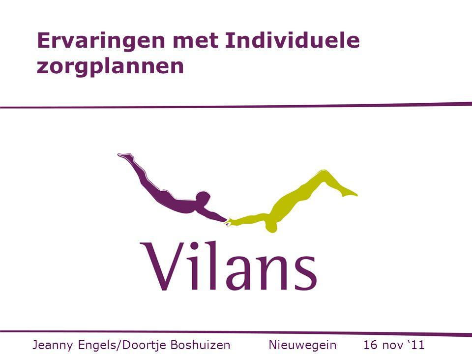 Opbouw Visie Vilans op werken met een individueel zorgplan Schets van een generiek individueel zorgplan Project IZP Vitale Vaten Ervaringen patiënten Ervaringen professionals 2