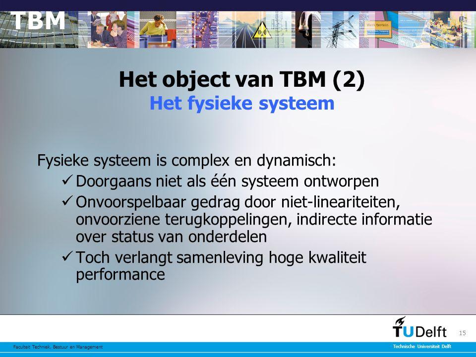 Faculteit Techniek, Bestuur en Management Technische Universiteit Delft 15 Het object van TBM (2) Het fysieke systeem Fysieke systeem is complex en dynamisch: Doorgaans niet als één systeem ontworpen Onvoorspelbaar gedrag door niet-lineariteiten, onvoorziene terugkoppelingen, indirecte informatie over status van onderdelen Toch verlangt samenleving hoge kwaliteit performance