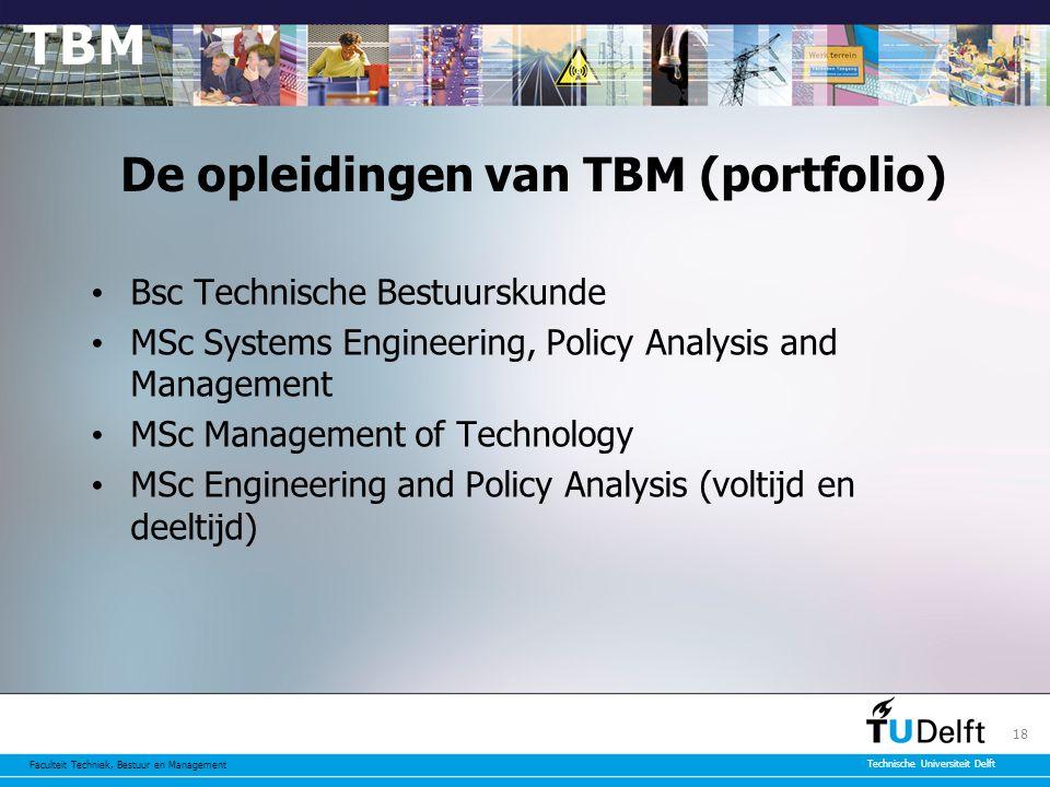Faculteit Techniek, Bestuur en Management Technische Universiteit Delft 18 De opleidingen van TBM (portfolio) Bsc Technische Bestuurskunde MSc Systems Engineering, Policy Analysis and Management MSc Management of Technology MSc Engineering and Policy Analysis (voltijd en deeltijd)