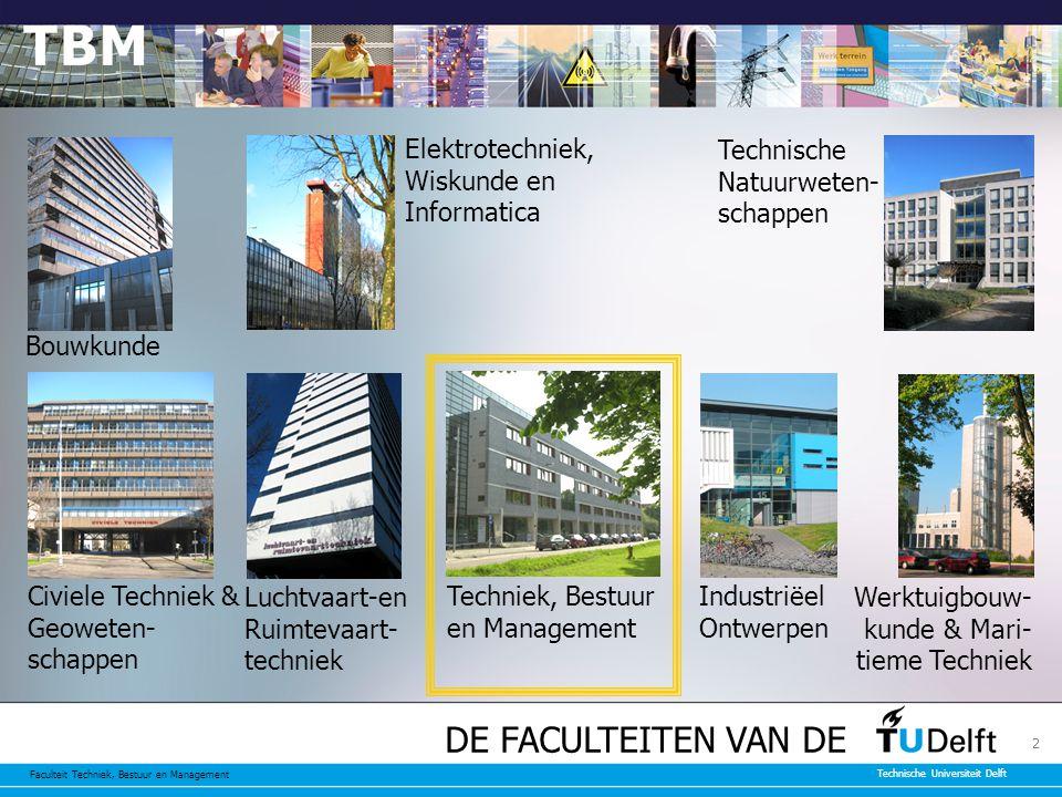 Faculteit Techniek, Bestuur en Management Technische Universiteit Delft 3 De missie van TBM De faculteit TBM beoogt in internationaal georiënteerd onderwijs en onderzoek een significante bijdrage te leveren aan het duurzaam oplossen van complexe maatschappelijke problemen.