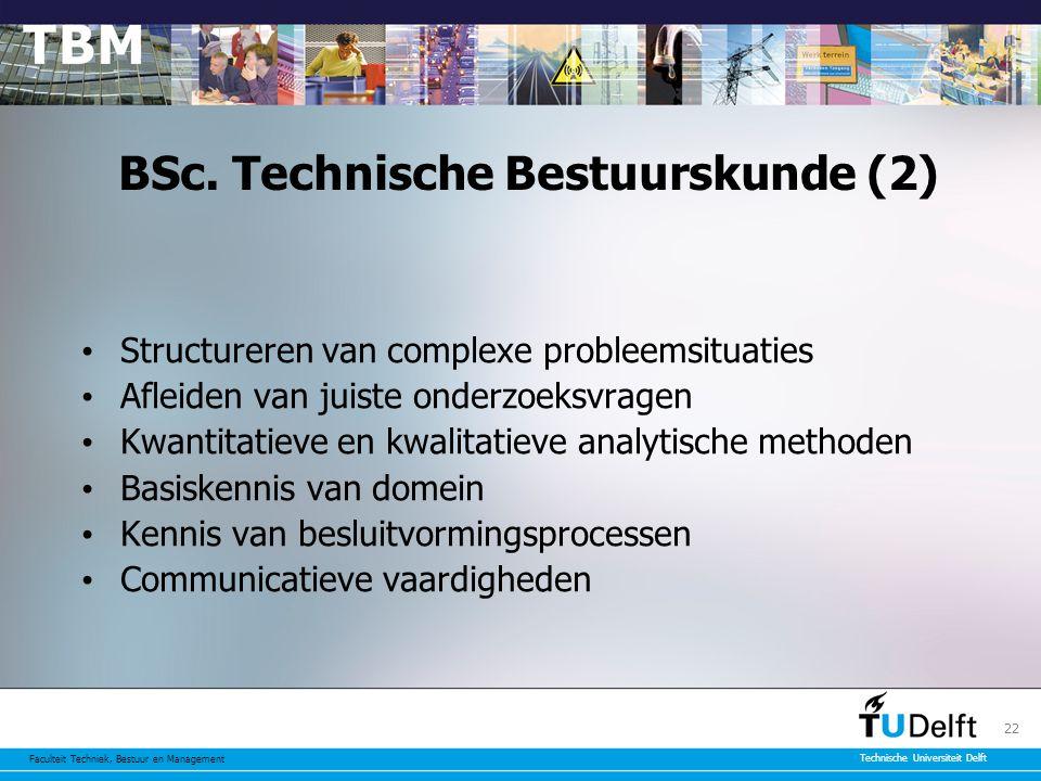 Faculteit Techniek, Bestuur en Management Technische Universiteit Delft 22 BSc.