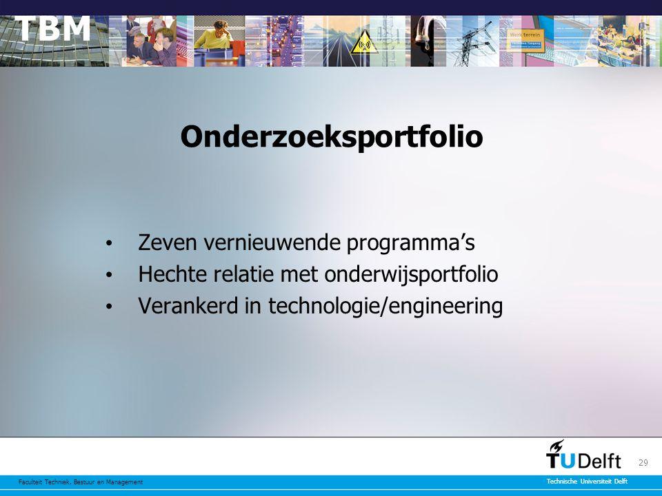 Faculteit Techniek, Bestuur en Management Technische Universiteit Delft 29 Onderzoeksportfolio Zeven vernieuwende programma's Hechte relatie met onderwijsportfolio Verankerd in technologie/engineering