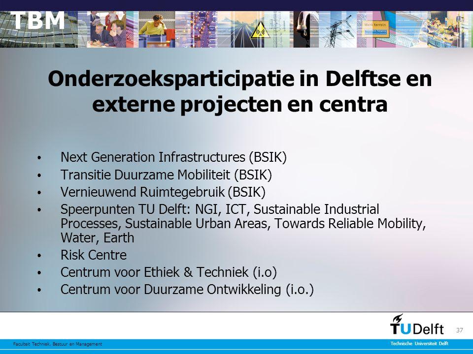 Faculteit Techniek, Bestuur en Management Technische Universiteit Delft 37 Onderzoeksparticipatie in Delftse en externe projecten en centra Next Generation Infrastructures (BSIK) Transitie Duurzame Mobiliteit (BSIK) Vernieuwend Ruimtegebruik (BSIK) Speerpunten TU Delft: NGI, ICT, Sustainable Industrial Processes, Sustainable Urban Areas, Towards Reliable Mobility, Water, Earth Risk Centre Centrum voor Ethiek & Techniek (i.o) Centrum voor Duurzame Ontwikkeling (i.o.)