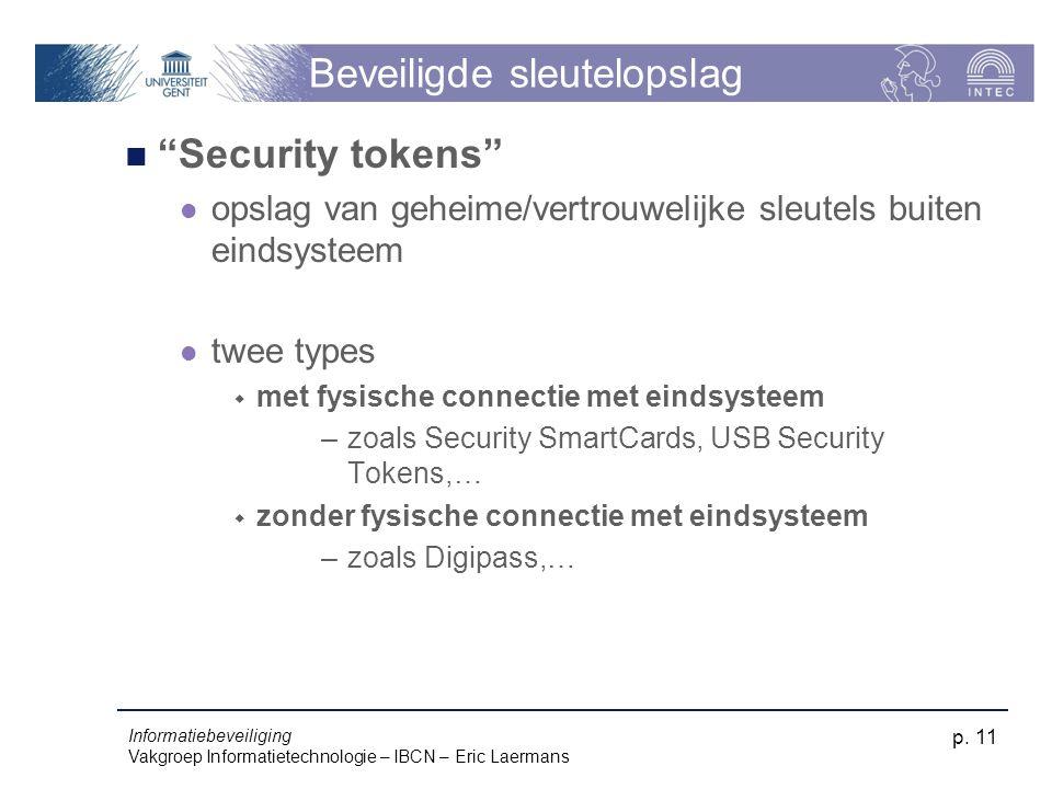 """Informatiebeveiliging Vakgroep Informatietechnologie – IBCN – Eric Laermans p. 11 Beveiligde sleutelopslag """"Security tokens"""" opslag van geheime/vertro"""
