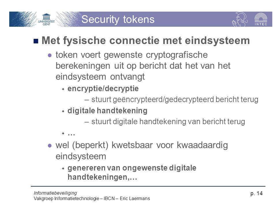 Informatiebeveiliging Vakgroep Informatietechnologie – IBCN – Eric Laermans p. 14 Security tokens Met fysische connectie met eindsysteem token voert g