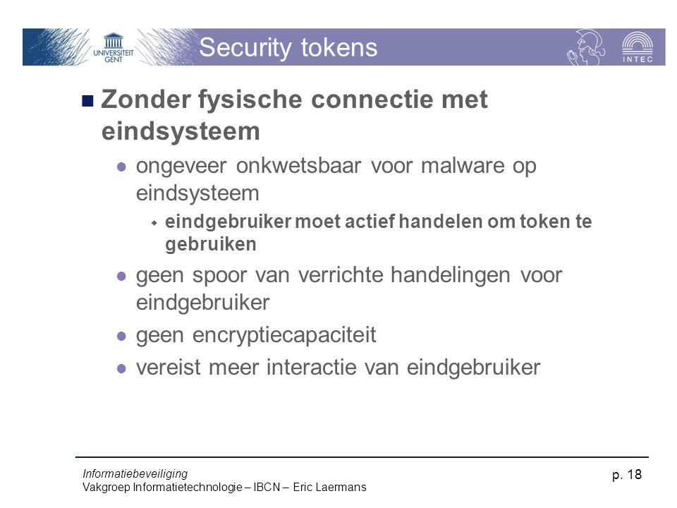 Informatiebeveiliging Vakgroep Informatietechnologie – IBCN – Eric Laermans p. 18 Security tokens Zonder fysische connectie met eindsysteem ongeveer o