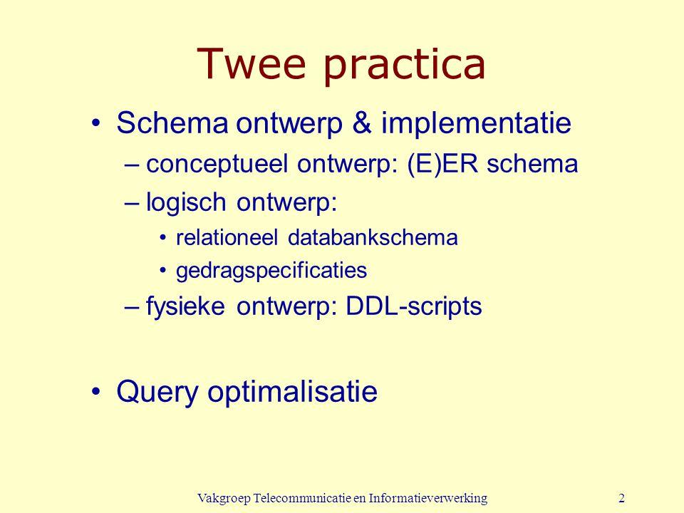 Vakgroep Telecommunicatie en Informatieverwerking2 Twee practica Schema ontwerp & implementatie –conceptueel ontwerp: (E)ER schema –logisch ontwerp: relationeel databankschema gedragspecificaties –fysieke ontwerp: DDL-scripts Query optimalisatie
