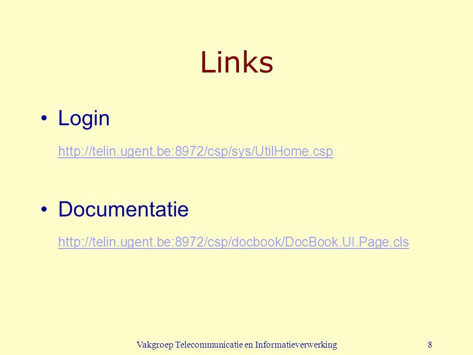 Vakgroep Telecommunicatie en Informatieverwerking9 Offline werken Download van software voor thuisgebruik: http://telin.ugent.be:7890/cache Documentatie wordt mee geïnstalleerd of kan apart gedownload worden.