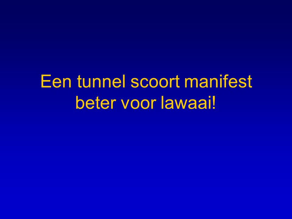Een tunnel scoort manifest beter voor lawaai!