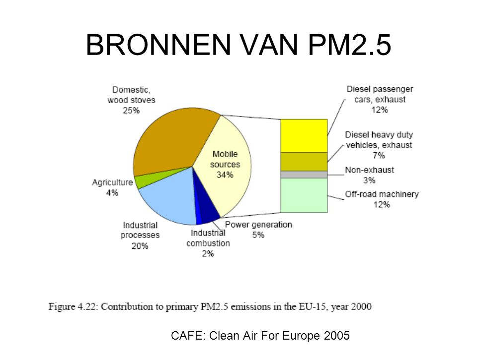 BRONNEN VAN PM2.5 CAFE: Clean Air For Europe 2005