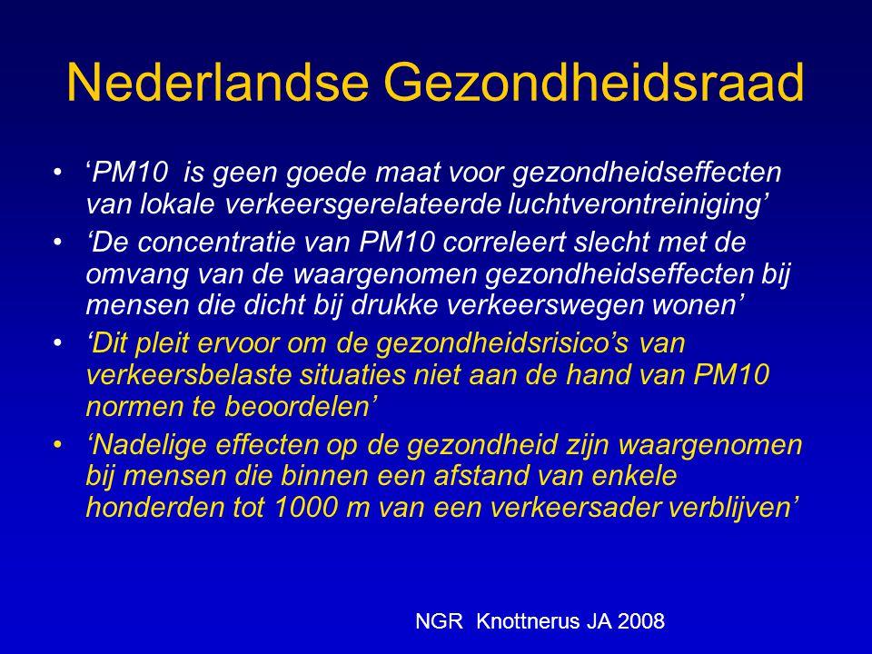 Nederlandse Gezondheidsraad 'PM10 is geen goede maat voor gezondheidseffecten van lokale verkeersgerelateerde luchtverontreiniging' 'De concentratie v