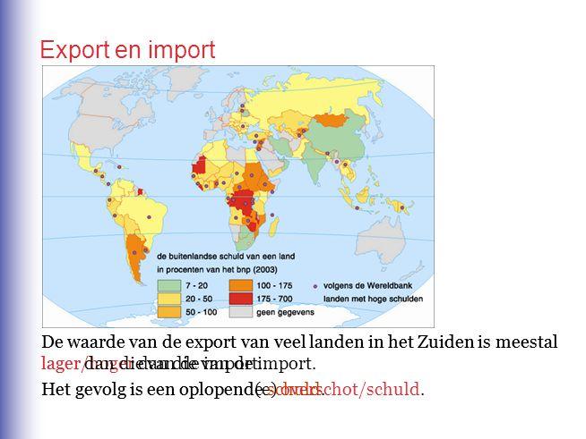 Export en import De waarde van de export van veel landen in het Zuiden is meestal lager/hoger dan die van de import. De waarde van de export van veel