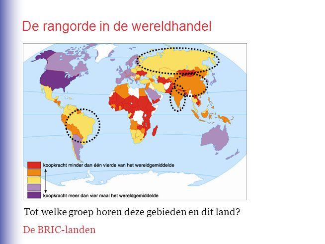 De rangorde in de wereldhandel Welke legendakleur hebben de meeste Afrikaanse landen ten Zuiden van de Sahara.