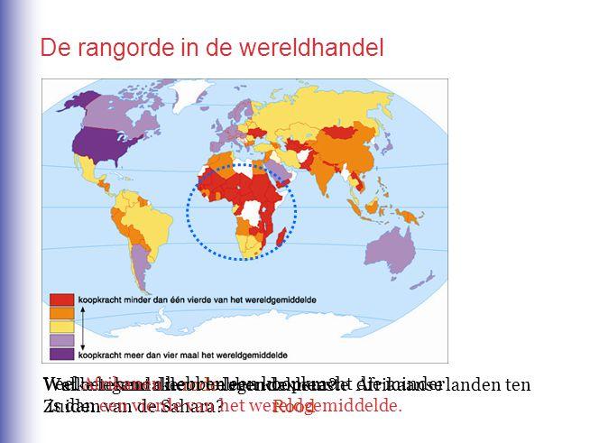 De rangorde in de wereldhandel Welke legendakleur hebben de meeste Afrikaanse landen ten Zuiden van de Sahara? Rood Wat betekent die rode legendakleur