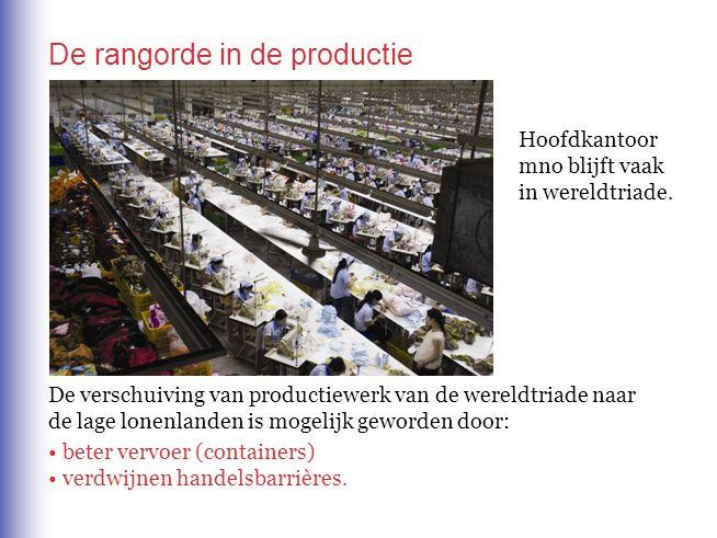 De rangorde in de productie De verschuiving van productiewerk van de wereldtriade naar de lage lonenlanden is mogelijk geworden door: beter vervoer (c