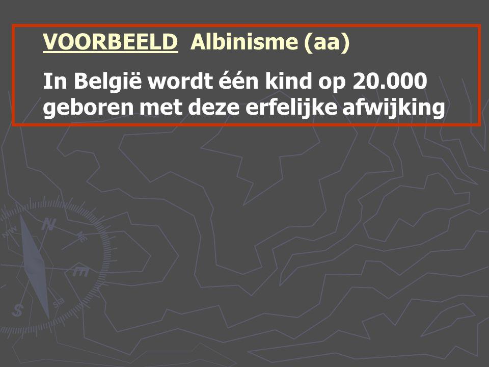 VOORBEELD Albinisme (aa) In België wordt één kind op 20.000 geboren met deze erfelijke afwijking