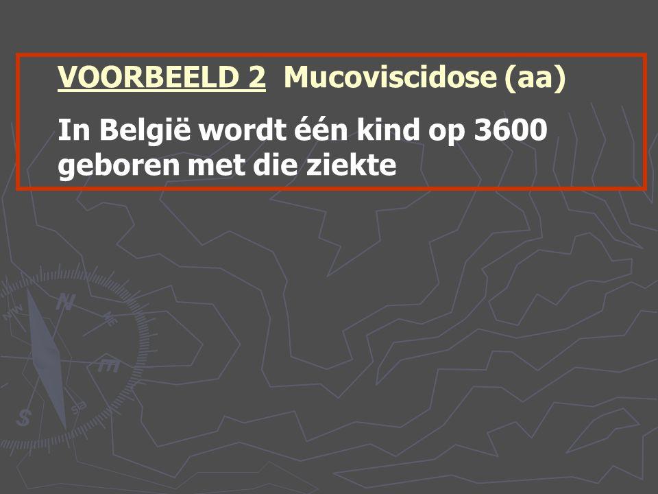 VOORBEELD 2 Mucoviscidose (aa) In België wordt één kind op 3600 geboren met die ziekte