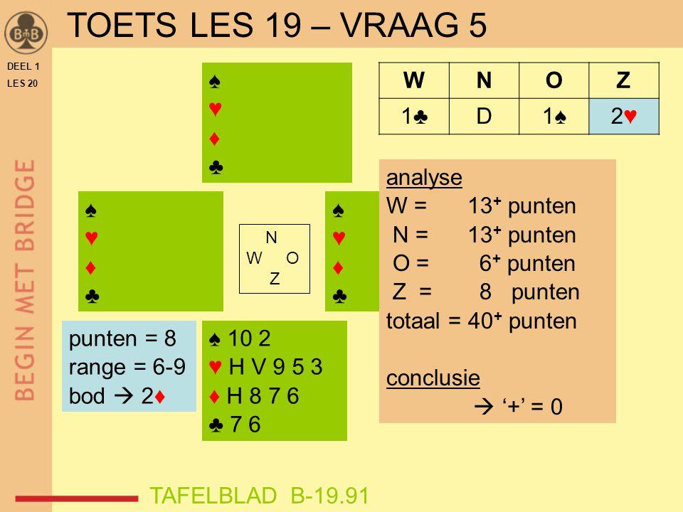 DEEL 1 LES 20 ♠♥♦♣♠♥♦♣ N W O Z WNOZ 1♣D1♠2♥2♥ ♠ 10 2 ♥ H V 9 5 3 ♦ H 8 7 6 ♣ 7 6 ♠♥♦♣♠♥♦♣ ♠♥♦♣♠♥♦♣ punten = 8 range = 6-9 bod  2♦ analyse W = 13 + punten N = 13 + punten O = 6 + punten Z = 8 punten totaal = 40 + punten conclusie  '+' = 0 TAFELBLAD B-19.91 TOETS LES 19 – VRAAG 5