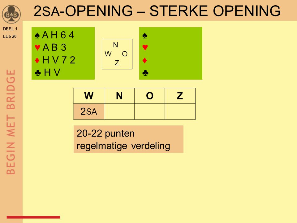 DEEL 1 LES 20 2 SA -OPENING – STERKE OPENING ♠ A H 6 4 ♥ A B 3 ♦ H V 7 2 ♣ H V ♠♥♦♣♠♥♦♣ N W O Z WNOZ 2 SA 20-22 punten regelmatige verdeling