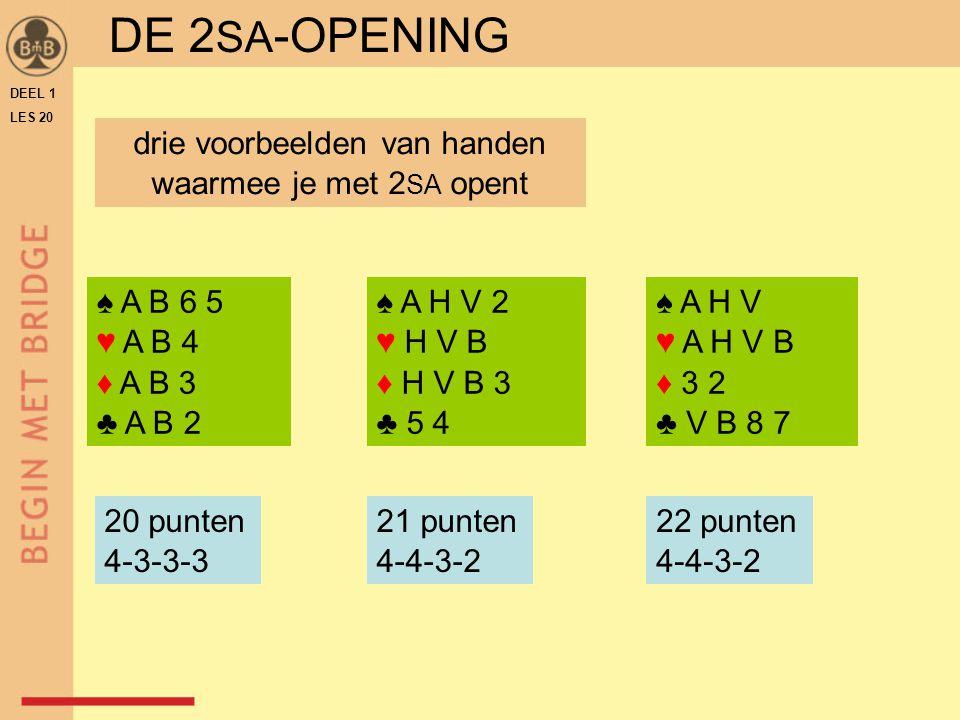 DEEL 1 LES 20 ♠ A H V 2 ♥ H V B ♦ H V B 3 ♣ 5 4 ♠ A H V ♥ A H V B ♦ 3 2 ♣ V B 8 7 DE 2 SA -OPENING ♠ A B 6 5 ♥ A B 4 ♦ A B 3 ♣ A B 2 drie voorbeelden van handen waarmee je met 2 SA opent 20 punten 4-3-3-3 21 punten 4-4-3-2 22 punten 4-4-3-2