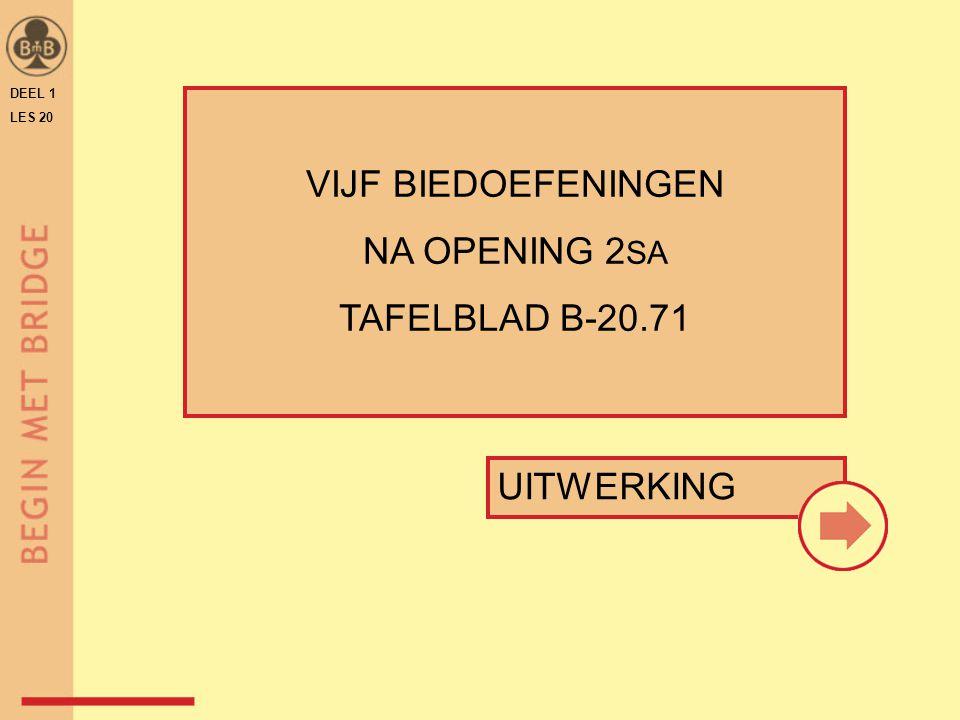 DEEL 1 LES 20 UITWERKING VIJF BIEDOEFENINGEN NA OPENING 2 SA TAFELBLAD B-20.71