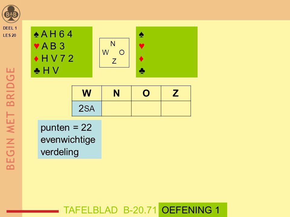 DEEL 1 LES 20 N W O Z WNOZ 2 SA TAFELBLAD B-20.71OEFENING 1 punten = 22 evenwichtige verdeling ♠ A H 6 4 ♥ A B 3 ♦ H V 7 2 ♣ H V ♠♥♦♣♠♥♦♣