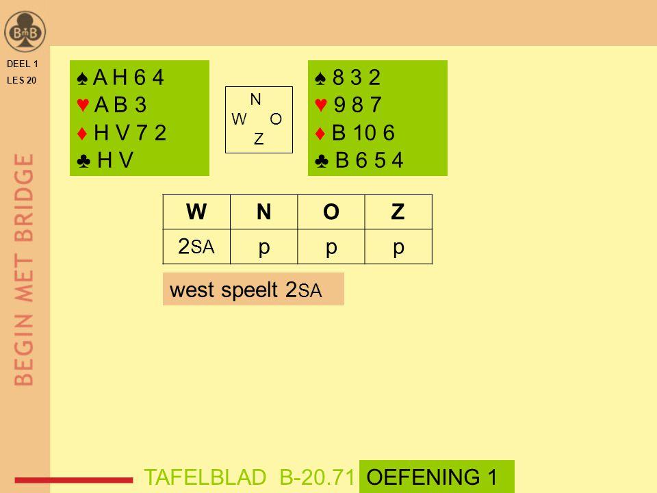 DEEL 1 LES 20 ♠ A H 6 4 ♥ A B 3 ♦ H V 7 2 ♣ H V N W O Z WNOZ 2 SA ppp ♠ 8 3 2 ♥ 9 8 7 ♦ B 10 6 ♣ B 6 5 4 west speelt 2 SA TAFELBLAD B-20.71OEFENING 1