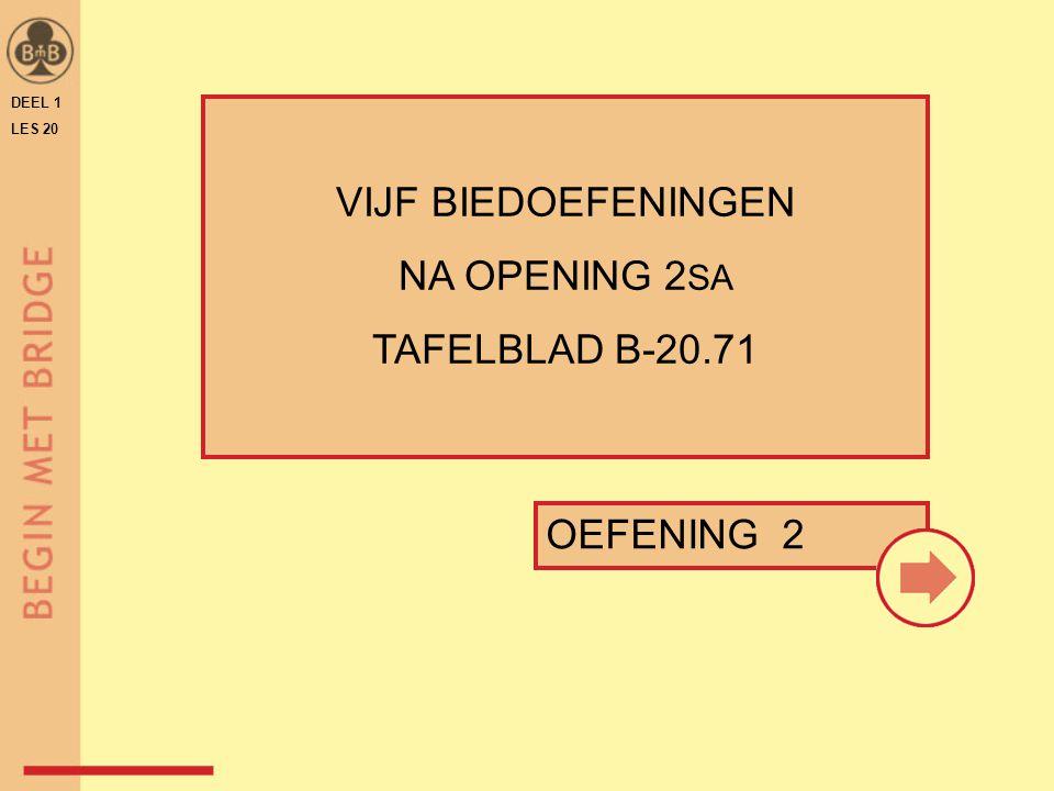 DEEL 1 LES 20 OEFENING 2 VIJF BIEDOEFENINGEN NA OPENING 2 SA TAFELBLAD B-20.71